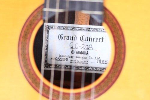 Yamaha GC-20A - manufacture label