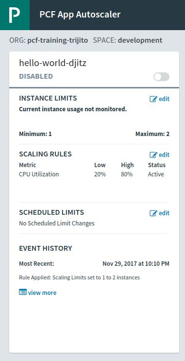 PCF Autoscaler Management Setting