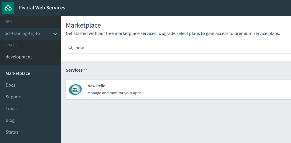 New Relic Application Performance Monitoring on PCF Marketplace