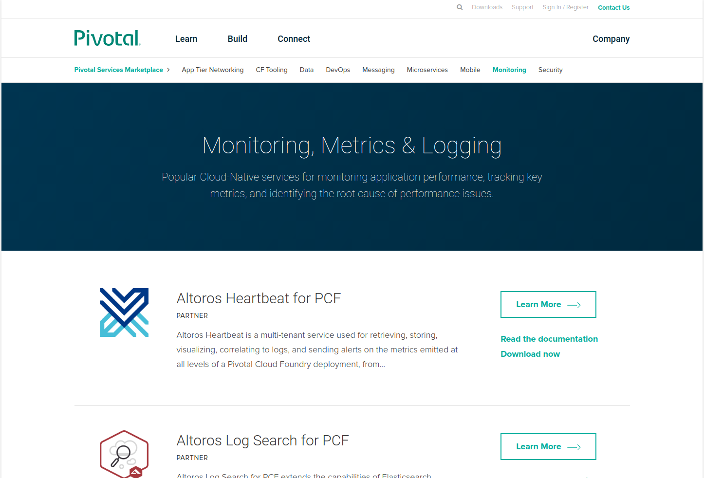 List of Monitoring, Metrics, and Logging Services available on Pivotal Marketplace