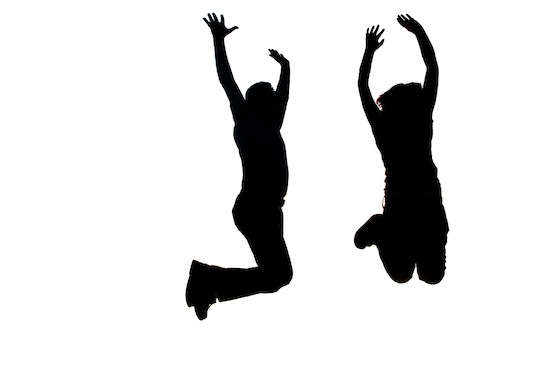 two jumping people